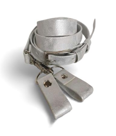 Pasek regulowany + zaczepy przetarty biały  metallic (1)