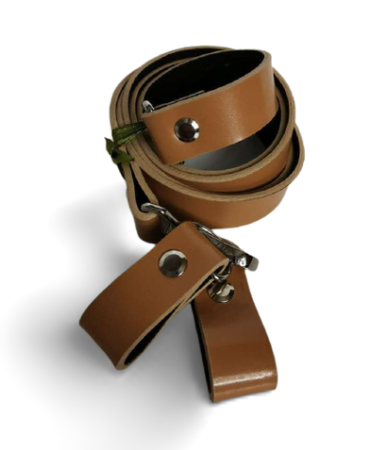 Zestaw pasek skóra 120cm + zaczepy biszkopt mat (1)